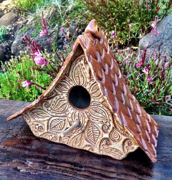 Ceramic Pottery Mandala Bird House for your garden by California Soulshine Designs