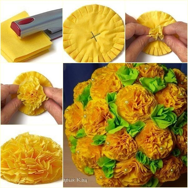 ----  More DIY Ideas ---- This is the easiest way to make paper or fabric flower ball so far, fold a piece of paper into small sizes and cross punch the center, cut then arrange, there you set. Simple and fast, right? Materials you may need: Paper or cloth Scissors Punch Glue and bead (if you want fancier)
