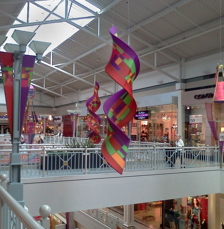 Bridgewater Commons hanging holiday decorations. For more information on Center Stage Seasonal Decor, visit: www.cspdisplay.com/seasonal-decor/