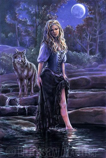 Women and Wolves:   Amazing Fantasy Art by  Lindsay Archer -  Sisters-of-the-Moon Fairy.