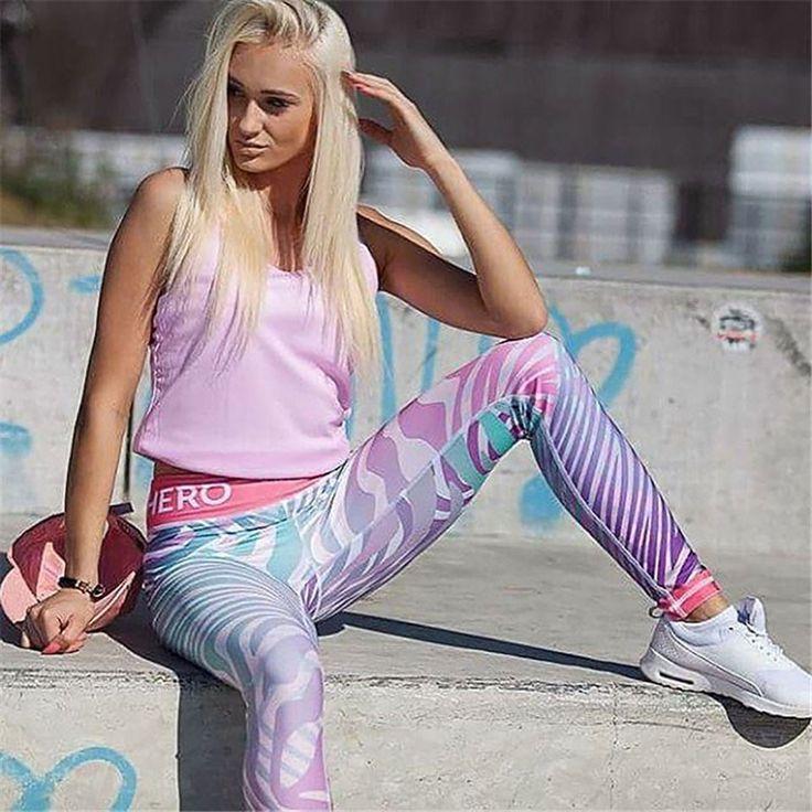 Причудливые леггинсы для фитнеса женщин тренировки тренажерный зал Hero принт штаны для йоги В Полоску Спортивные Леггинсы фитнес-стрейч женские спортивные Леггинсы
