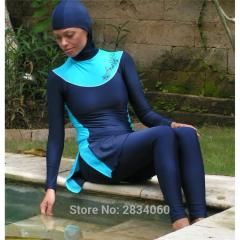 [ 20% OFF ] Swimming Suit Girl Muslim Solid Black Muslim Swimwear Plus Size Modest Islamic Swimsuit Hijab For Women