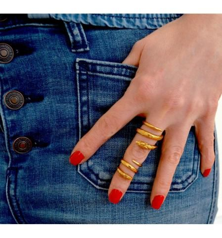 Premium Double Snake Ring Gold - Trouva