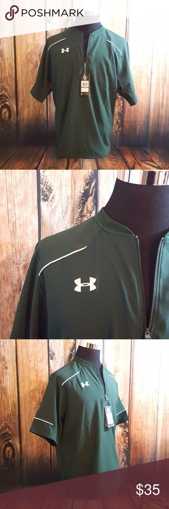 ♂ NWT UNDER ARMOUR mens half zip cage jacket Under Armour Mens Team Ultimate Short Sleeve Cage Jacket Lightweight   SIZE SMALL AND LARGE AVAILABLE  FEATURES: - Authentic, brand new with tags, never worn  - Short sleeve, half zip baseball batting cage jacket - Stretch woven fabrication  - Perforated graphite underarm panels for maximum breathability and ventilation - Bungee cord at bottom hem with side seam zipper vent Under Armour Jackets & Coats Performance Jackets