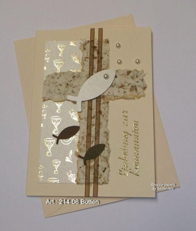 Einladungskarten - Taufe Kommunion Karte handgeschöpft - ein Designerstück von happy-papers bei DaWanda