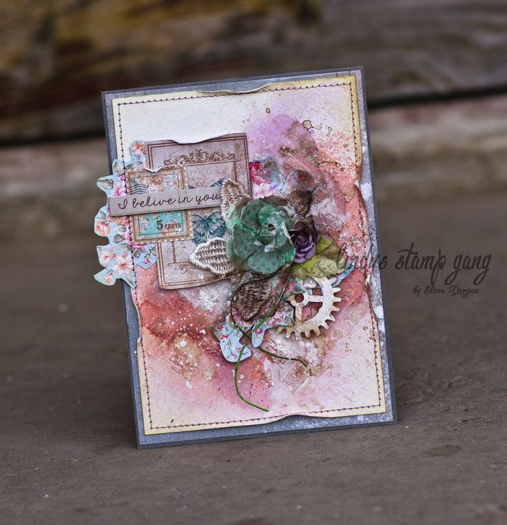 Two Mixed Media Cards by Elena Morgun | Lindy's Stamp Gang