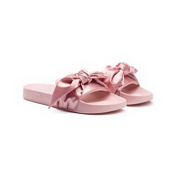Did Forever 21 just copy Rihanna's Fenty X Puma slider sandals? ❤ liked on Polyvore featuring shoes, sandals, bow sandals, pink shoes, bow shoes, pink bow shoes and pink bow sandals