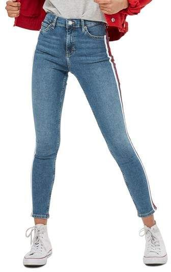a616704a47a7b4 Topshop Jamie Side Stripe Jeans mid rise color light blue with red and  white side stripe