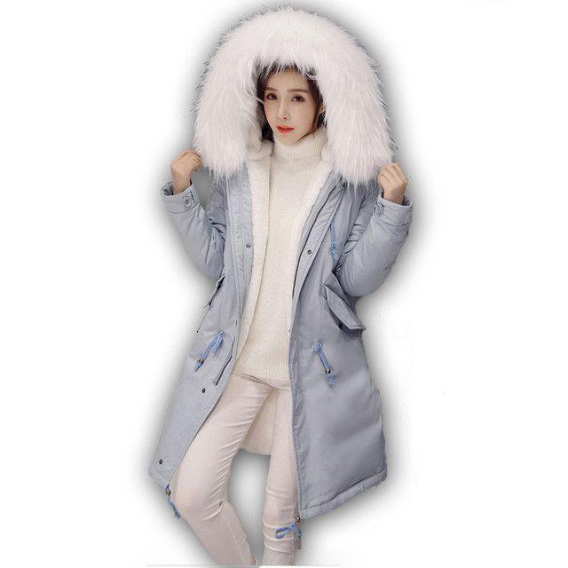 Parka Coat Women Cotton Winter Jacket Women Hooded Parker Coats Womens Rabbit hair Long Large Jackets