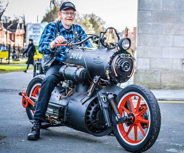 Revatu's Black Pearl is a beautiful and humorous showpiece motorcycle. Not only does it look like a steam train, it actually works like a steam train, with the rear wheel driven by a huge crankshaft. Photo by Marc Quinlivan.