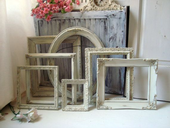 Antique Cream and Mint Green Open Frame Set, Cottage Chic Ornate ...