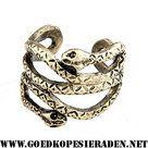 Ring-bronskleurig-met-2-slangen-opengewerkt-en-open-model