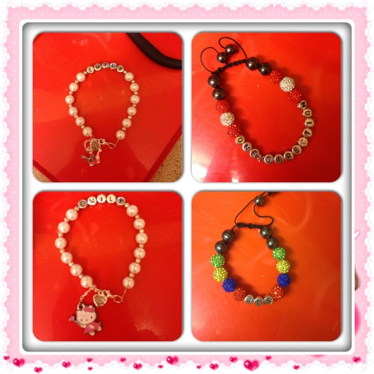 Selection of children's bracelets that have been custom made xx