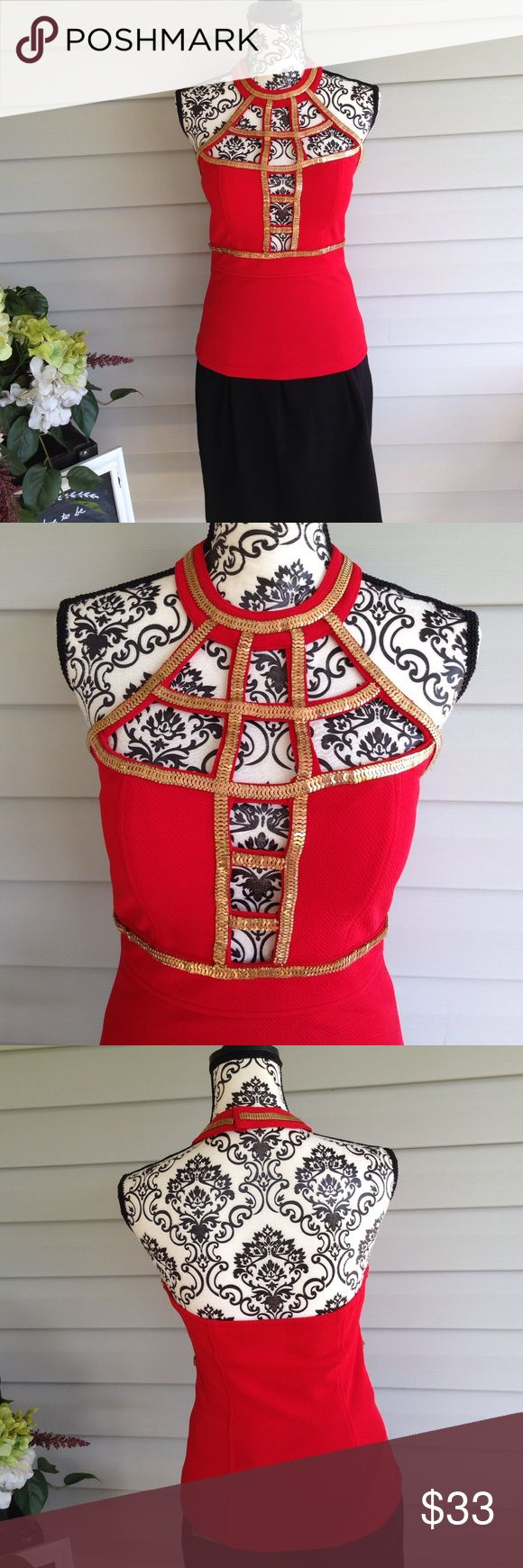 Red & Gold Birdcage Nov Blouse Medium Red with gold metal accent, fastens behind the neck and a halter style leaving the back area backless. Very fitted into height. Bright red and gold by NOV Nov Tops Blouses