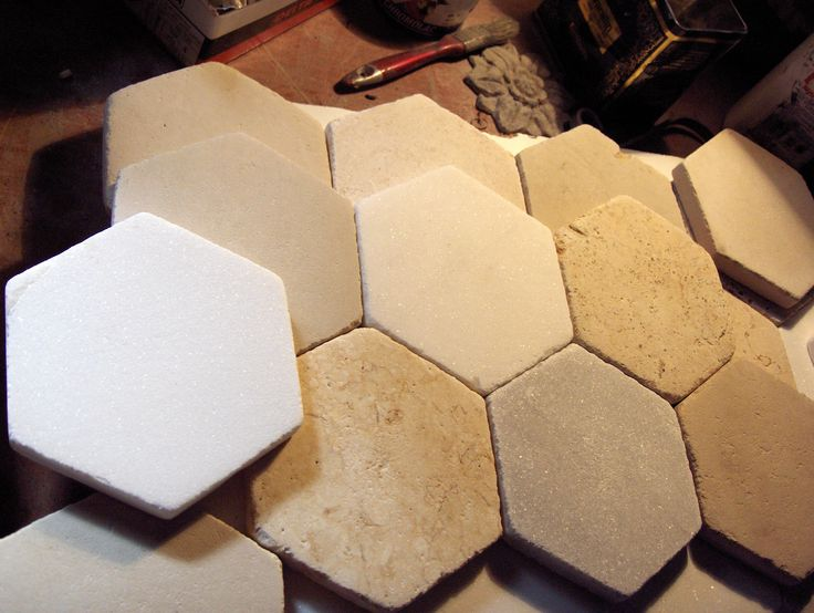 Greek marble tile hexagon (white of Thassos ,semiwhite of Kavala ,yellow of Maronia) honed surface 16,5 cm side to side(aprox 6,5 in) athansmarble@gmail.com