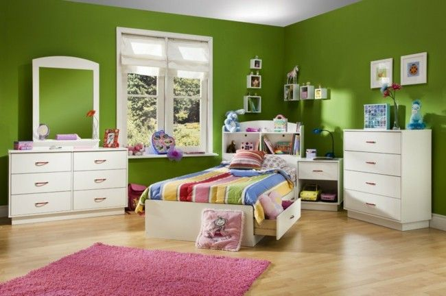 habitaciones infantiles con paredes verdes