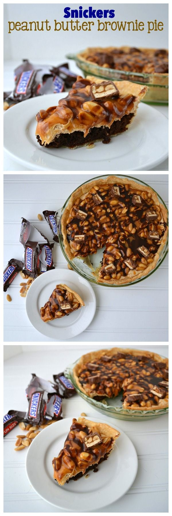 Snickers Peanut Butter Pie - a brownie in a pie crust topped with peanut butter nougat, caramel, and peanuts, just like a snickers candy bar!