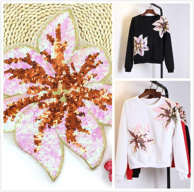 3 Шт./лот Блесток кружевной ткани патч наклейки свитер DIY декоративные цветы pattern мода аппликация одежда швейные принадлежности