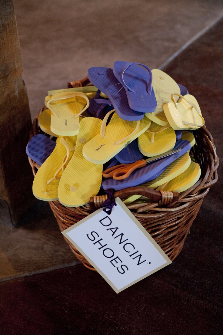 Wedding dancing shoes basket, are you kidding me? Anyone who is so low class as to take there shoes off at my wedding will immediately be escorted out. I am not joking