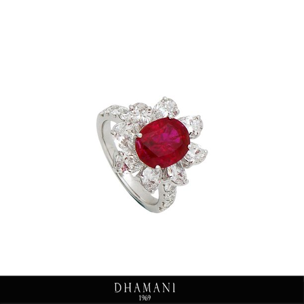 #Exquisite 18K White Gold #Ruby and #Diamond #Ring weighing 6.56 Grams studded with 4.03 Carats of #Natural Ruby and 3.15 Carats of Natural Pear & Round Shape Diamonds AT - Dhamani The Dubai Mall #Dhamani1969 #luxury #gifts #Engagement #Wedding #Festival