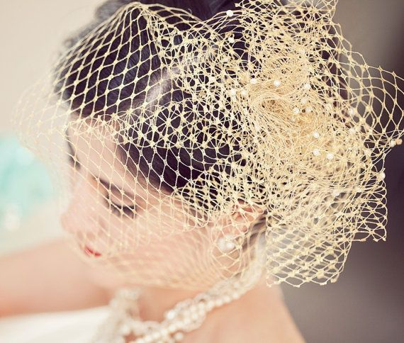 Gold Birdcage Veil With Pouf and Pearls by ChantillyLaceDesigns, $48.00