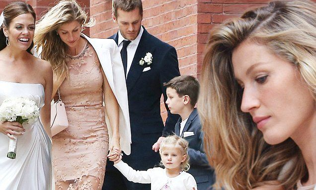Gisele Bundchen and Tom Brady go to his sister's wedding on Sunday 10/3/15  Ben and Vivian are with them, there 2 kids together.