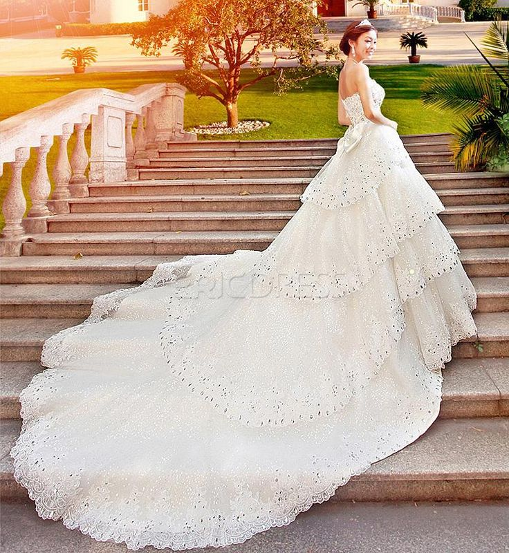 Perfect GLamorous A Line Floor Length Sweetheart Cathedral Train Wedding Dress