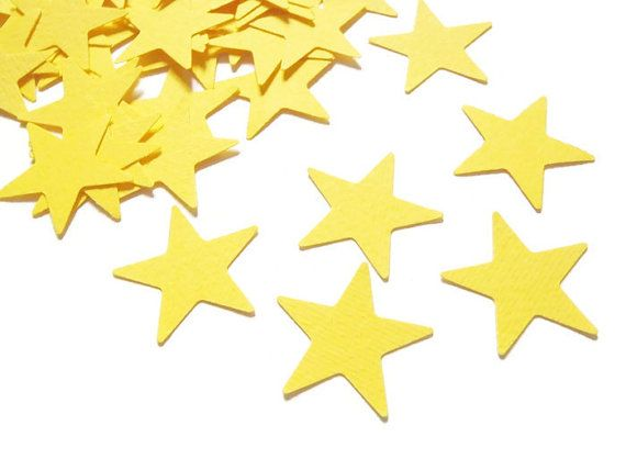 yellow stars confetti party favor party supply nursery paper baby shower table decor communion card diy garland scrapbooking lasoffittadiste