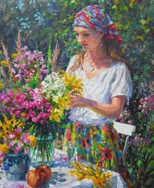 "Artist Barbara Jaskiewicz; Painting, ""Flower Arrangement"", palette knife oil on linen, size 23.6""x19.7"". Garden scene."