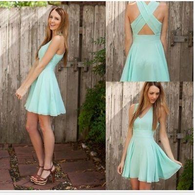 Short bridesmaid dress, mint bridesmaid dress, chiffon bridesmaid dress, simple bridesmaid dress, cheap bridesmaid dress, BDS00004