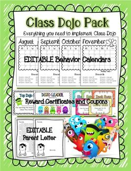 If you use class dojo in your classroom, you need to have this pack! It includes:*editable monthly calendars to track points*editable parent letter*monthly rewards certificates (color and b+w)*16 different rewards coupons