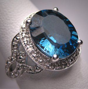 Vintage London Blue Topaz Diamond Ring Art Deco W. Gold