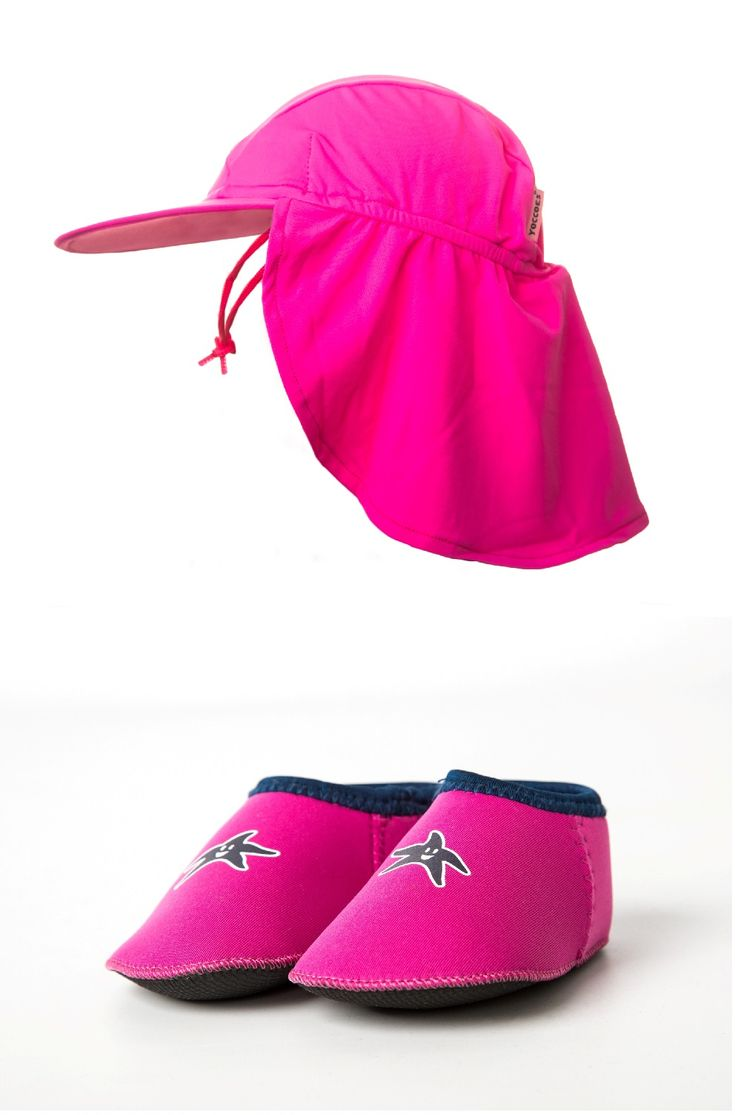Combination pack UPF 50+ flap hat and Shore Feet padder beach shoes. Available in four sizes: XS- 0 - 6 months   S - 6 - 12 months M - 12 - 18 months L - 18 - 24 months