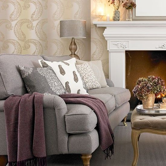 Tonal grey paisley living room | Living room decorating | Country Homes and Interiors | Housetohome.co.uk