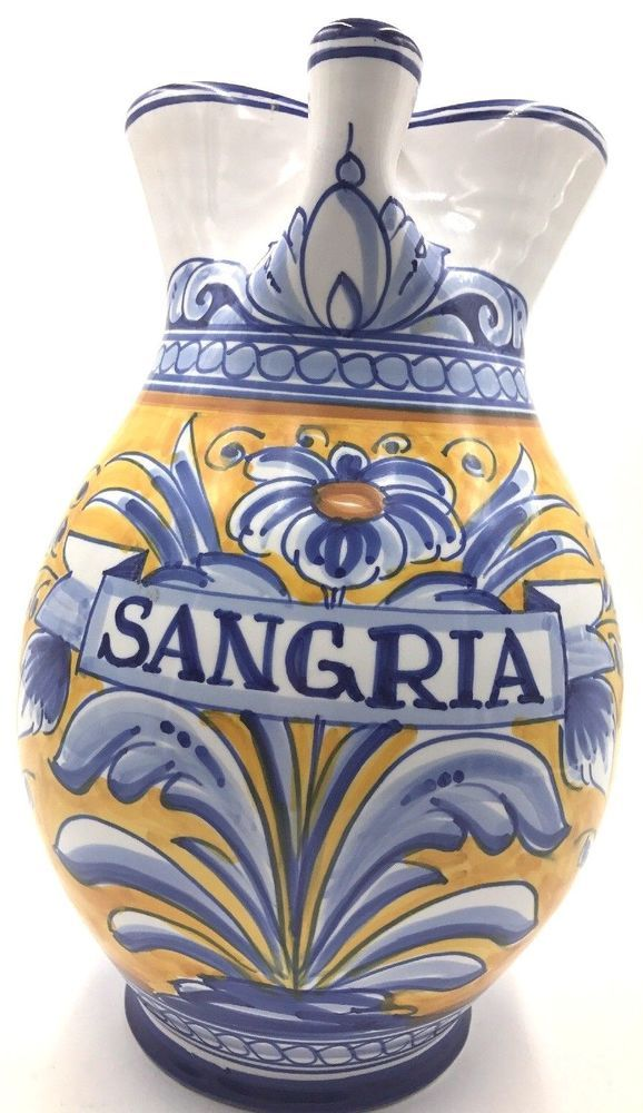"Pottery Sangria pitcher Spain,signed ,hand work,Unique decorations""wearethedeal"""