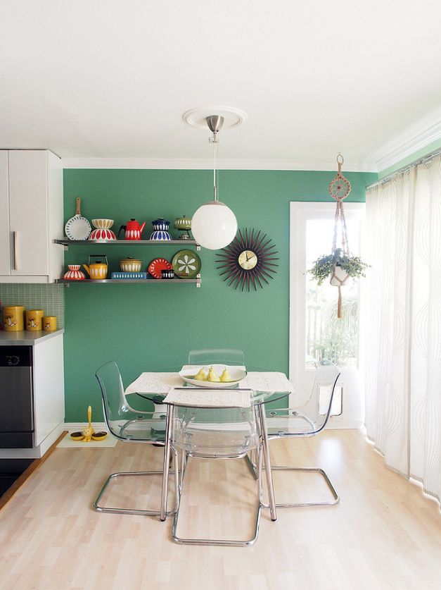picture of a living room cartoon decor with leather couch mid-century modern freak | sweet bay area apartment ...