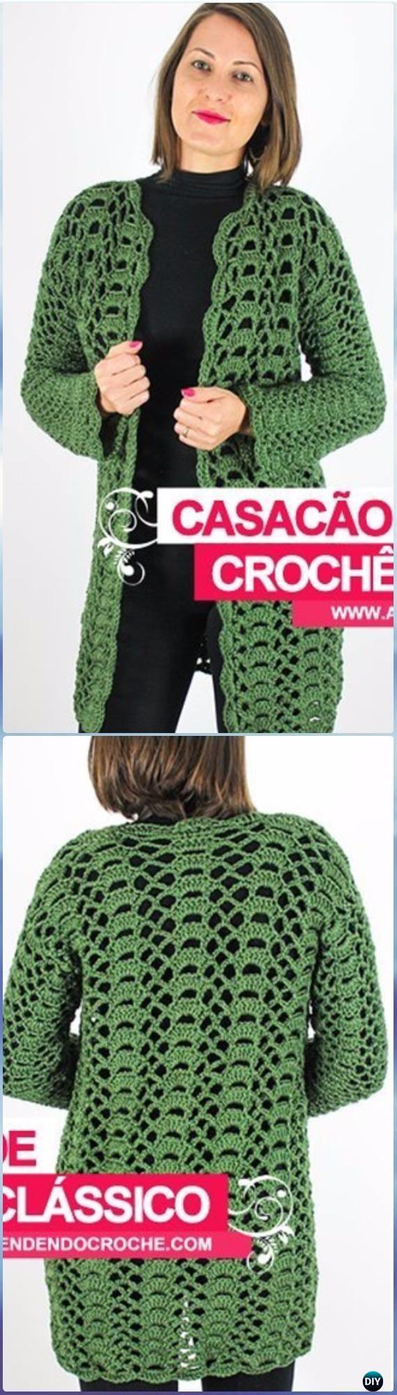 Crochet Classic Sweater Coat Free Pattern Video - Crochet Women Sweater Coat & Cardigan Free Patterns
