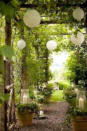 hurricane candle holders in ivy pots