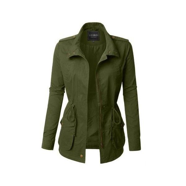LE3NO Womens Parka Anorak Military Hoodie Jacket with Drawstring (105 BRL) ❤ liked on Polyvore featuring outerwear, jackets, army green jacket, green utility jacket, green field jacket, military jacket and parka jacket
