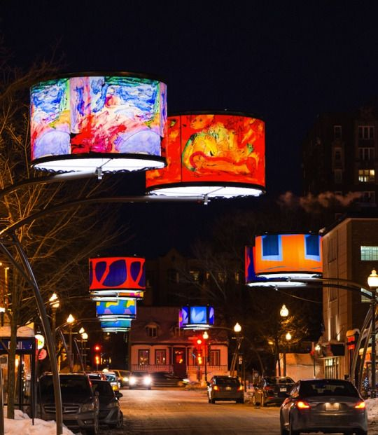Dazzling Lampshades Beautify Quebec City's Cartier Avenue.