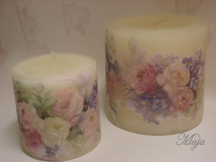 Candles with decoupage