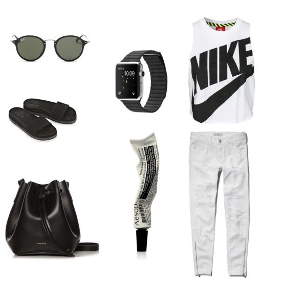OOTD by anapopa on Polyvore featuring NIKE, Abercrombie & Fitch, Alexander Wang, Rachael Ruddick, Ray-Ban and Aesop