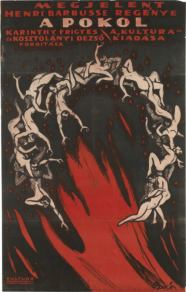 MIHALY BIRO (1886-1948) A POKOL. 1918. Advertising a Hungarian production of Henri Barbusse's l'Enfer, which was originally published in 1908. Biro / Plakat Kunstler 91.