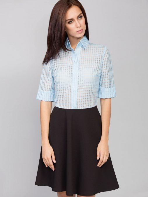 Sukienka koszulowa z kołnierzykiem błękitna fashion4u.pl