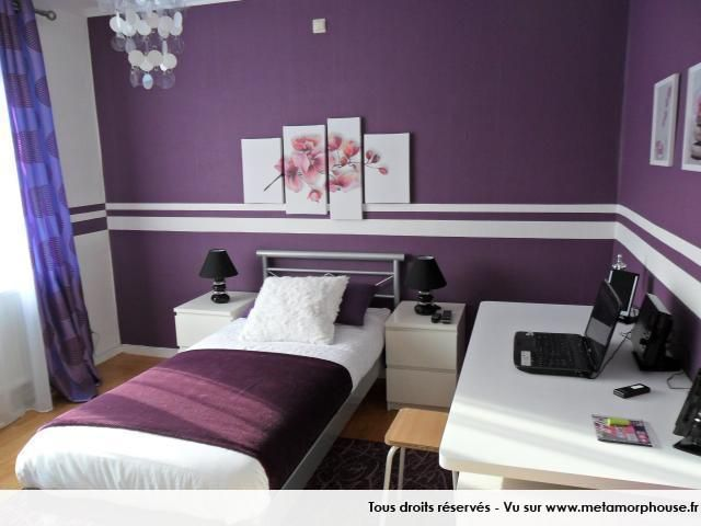 D co int rieur pourpre modernes couleurs de peinture de for Idee deco chambre contemporaine