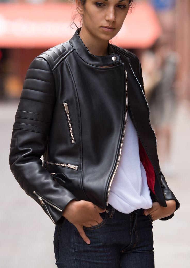 Celine black leather jacket - rocker chic fashion style - parisian cool & classic fashionista look - model off-duty indefinitely. #karinarussianpowpow