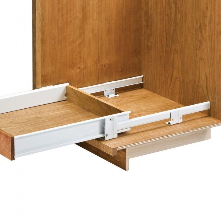 Slide Out Closet Shelves: Floor-Mounted Drawer Slides With Metal Sides