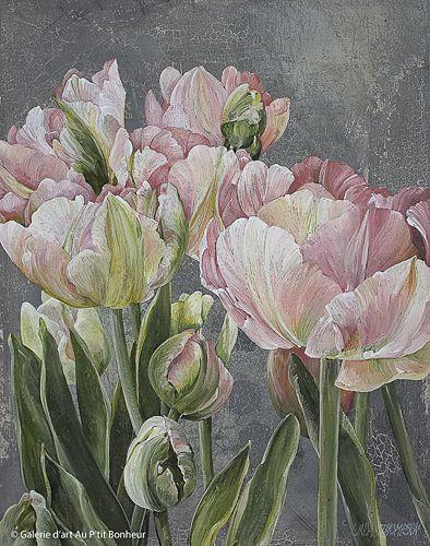 Linda Thompson, 'Floral Sisters 1', 11'' x 14'' | Galerie d'art - Au P'tit Bonheur - Art Gallery