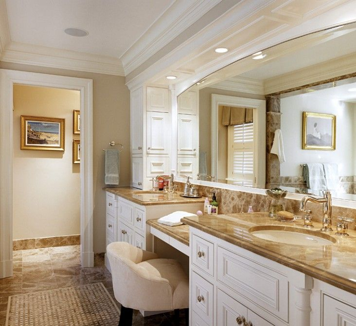 Love The 2 Separate Sinks And Vanity W Chair In Between By Fallon Custom Homes Renovations