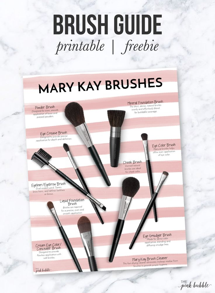 Mary Kay Brush Guide! This one is a freebie! Find it only at www.thepinkbubble.co! Skin Care products - http://amzn.to/2iSUZHs